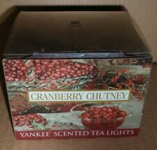 YANKEE CANDLE CRANBERRY CHUTNEY SCENTED TEA LIGHTS FULL BOX OF 12