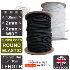 ELASTIC Shock Cord BLACK WHITE 1.8mm 2mm 3mm Round Elastic For Face Masks Hats