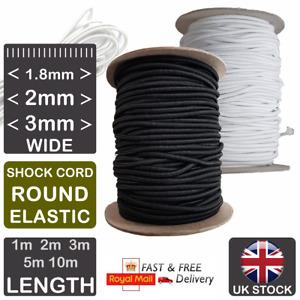 ELASTIC Shock Cord WHITE BLACK 1.8mm 2mm 3mm Round Elastic For Face Masks Hats