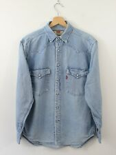 G74 Vtg Levi Strauss 60566 Denim Men Blue Long Sleeve Popper Wester Shirt Size S
