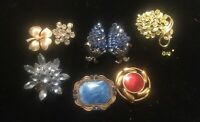 (8) Vintage Brooch Lot UNSIGNED Rhinestone Colored Stones Metal - As Is