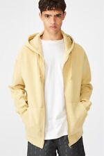 Factorie Mens Washed Zip Through Hoodie Fleece Tops  In  Yellow