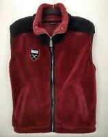 Vintage Marker Sherpa Fleece Ski Vest Jacket Mens Size XS Red Full Zip Layer 90s
