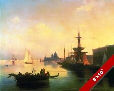 EVENING IN VENICE ITALY SHIPS SAILBOAT SEASCAPE PAINTING ART REAL CANVAS PRINT