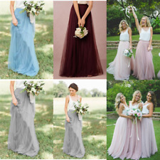 Women Tulle Prom Long Tutu Skirt Bridesmaid Princess Ball Party Dress Underskirt