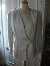 Ladies Cream & Gold swirl jacket size 12 by Vivace Creative Creations