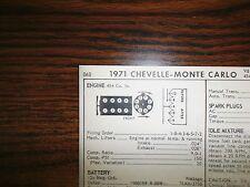 1971 Chevrolet Chevelle Monte Carlo 425 HP 454 V8 SUN Tune Up Chart Great Shape!