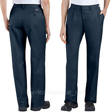 Dickies Pants Women Pleated Front Work Pant Straight leg FP220 Black Navy Khaki