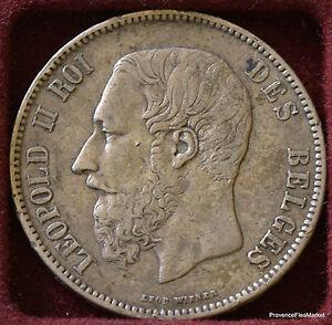 Belgium ECU 5 Francs Leopold II 1870 Belgium - Silver 956A5