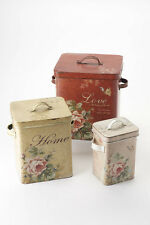 Heaven Sends Shabby Chic Decoupage French Farmhouse Distressed Floral Metal Tins