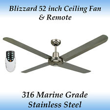 """Blizzard 52"""" 316 Marine Grade Stainless Steel Outdoor Ceiling Fan with Remote"""
