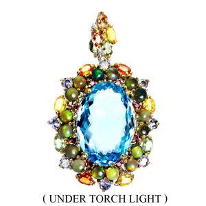 Handmade 33ct Swiss Blue Topaz Opal Sapphire 925 Silver Big Pendant Special Item
