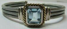 Designer CNA 925 Sterling Silver & 14K Gold Blue Topaz Cable Cuff Bracelet
