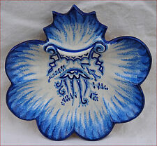 Vintage French Majolica Scaloped Oyster Plate Fouillen Jellyfish Quimper
