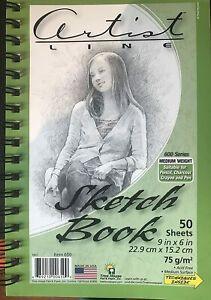 """Artist Sketch Book Drawing Journal 50 Sheets Spiral 9""""X 6"""" Medium Weight"""