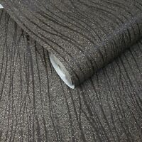 Mica chip stones Brown Modern Natural Wallpaper Vermiculite Lines wall coverings