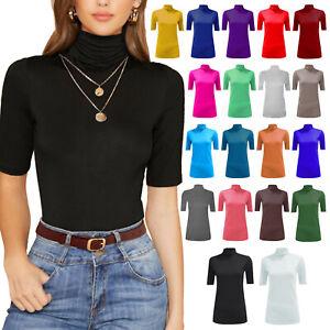 Womens Polo Neck Tops Short Sleeve Roll High Neck Plain Trendy Basic T-Shirts