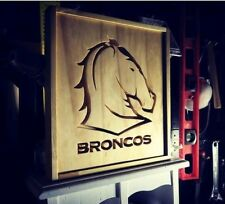 100% Handmade Broncos Logo Wooden Wall Art Framed Picture
