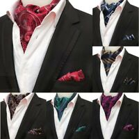 New Men's Cravat Ascot Set Ascot Tie Handkhief Silk Paisley Floral Woven Ties