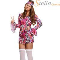 Sexy Ladies Hippie Girl Womens 60s 70s Hippy Groovy Fancy Dress Costume 10-14