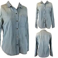 Madewell Denim Button Up Long Sleeve Women's Shirt SZ M Medium