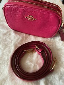 COACH Seat Angle Cross-body Pouch in Polished Pebble Leather Pink Ruby 53034