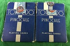 ANTIQUE VINTAGE TORPEDO PINOCHLE PLAYING CARDS WITH TAX STAMPS LOT OF 2