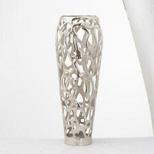 Large Hand Cast Silver Metal Tall Stunning Coral Design Display Ornament Vase