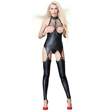 SEXY Catsuit Faux Leather TEDDYCATSUIT Open Bust Fetish Goth  8 10 12 14 RBM