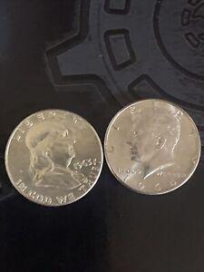 1963-P Franklin And 1964 Kennedy Half Dollar Choice BU Gem