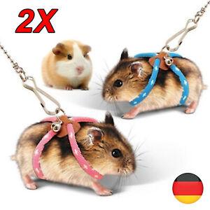 2X Geschirr Leine Leash Lead Hamster Kleine Hund Katze Hasen Kaninchen Ratte DE