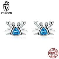 Voroco Simple Pendiente Estilo 925 Plata ala media con Rodio Chapado AAA Cz y