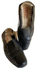 PIKOLINOS Sling Back Wedge Ladies Shoes Sz 10 Black Stitch Leather