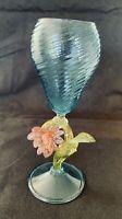 Vintage Tall Venetian Aqua Blue Spiraled Murano Glass With Flowers on Stem