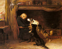 Let Owner Sleep Pet Dog Briton Riviere Painting Real Canvas Giclee Art Print