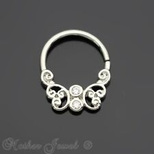 FILIGREE SIMULATED DIAMOND SILVER SURGICAL STEEL NOSE SEPTUM TRAGUS HOOP RING