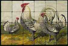24x16 Silver Spangled Chickens  Kitchen Backsplash Mural Tumbled Marble Tiles