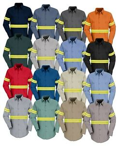 Red Kap Enhanced Visibility Hi Vis Reflective Work Towing Uniform Shirts LS
