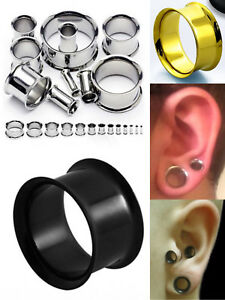 316L Surgical Steel PVD Double Flared Ear Flesh Tunnel Plug Body Piercing 1pc