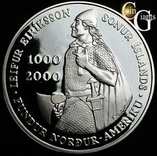 2000 Leif Ericson Island 1000 Kronur Proof Silver Coin US Mint Commemorative S$1