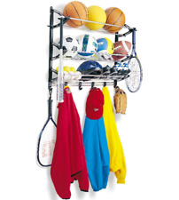 Sports Equipment Rack Wall Mount Garage Storage Balls Shoe Glove Racket