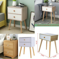 2 Drawers Nightstand Storage Wood End Table Bedroom Side Bedside Table Modern