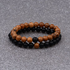 Couple His & Hers Lava Wooden Bead Matching YinYang Women Men Distance Bracelets