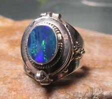 Sterling silver 925 Australian blue opal doublet poison ring UK N½-/US 7.