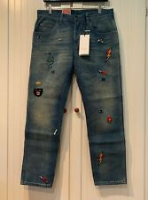 GUCCI Jeans Tapered Denim Pant with Symbols, 34