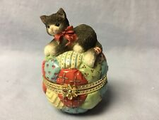 Calico Kittens #314609 Kitten on Quilted Ball Covered Box Nos