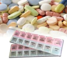 7-Day Storage Pill Drug Medicine Organiser Case Box Compartment 14 Slot Table GA