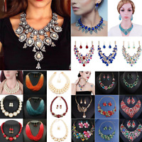 Fashion Women Bohemia Beads Bib Necklace Choker Statement Pendant Chunky Jewelry