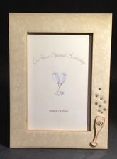 Fortieth 40th Birthday Photograph Frame Enamelled Champagne Glass Diamanté Russ
