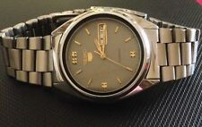 GENUINE VINTAGE 7S26 SEIKO 5 AUTOMATIC GRAY FACE MENS WATCH
